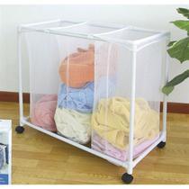 Carrinho de lavanderia triplo 3 cestos para organizacao de roupas portatil com rodinhas - MAKEDA