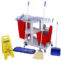 Carrinho de Limpeza Multifuncional Kit 3 Completo - Limpeza Úmida e Seca - Bralimpia