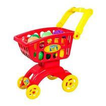 Carrinho de Mercado Infantil com Frutas e Legumes Market Vermelho - Braskit