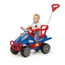 Carrinho de passeio 2 em 1 empurrador e pedal buzina cross turbo azul - calesita -