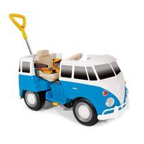 Carrinho de passeio 2 em 1 kombus azul buzina empurrador e pedal - Poliplac