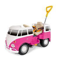 Carrinho de passeio infantil 2 em 1 meninas kombus rosa buzina empurrador e pedal - Poliplac