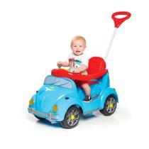 Carrinho de passeio infantil meninos com empurrador fouks azul buzina - calesita -