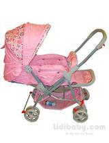 Carrinho de Passeio Para Bebê Vira Berço Rosa - Color Baby -