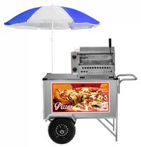Carrinho de Pizza e Mini Pizza Inox com Guarda Sol L30PGS Cefaz -