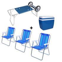Carrinho de Praia com Avanço + Caixa Térmica 34 Litros Azul + 03 Cadeira de Praia Alta Sortida em Aç - Mor