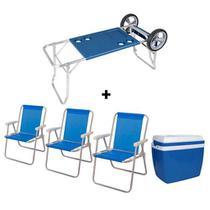 Carrinho de Praia com Avanço + Caixa Térmica 34 Litros Azul + 03 Cadeiras de Praia Alta Sannet Azul - Mor