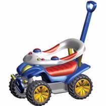 Carrinho e Andador Azul e Vermelho Dudu Car Com Empurrador Biemme -
