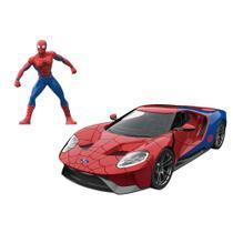 Carrinho e Figura Die-Cast -1:24 - Metals - Disney - Marvel - Spider-Man - Ford GT - DTC -
