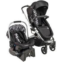 Carrinho Eclipse Preto Xadrez + Bebê Conforto Caracol + Base - Kiddo -