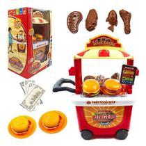Carrinho food truck infantil hamburguer c/ 35pçs - Chaofeng Toys