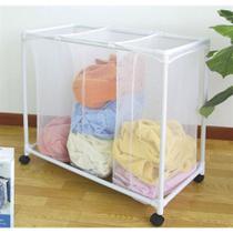 Carrinho lavanderia com 3 cesto roupeiro organizador de roupas sujas com rodinha branco luxo - MAKEDA