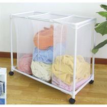Carrinho lavanderia roupeiro luxo com 3 cesto organizador de roupas sujas com rodinha branco - Makeda