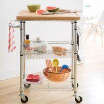 Carrinho mesa Chef de madeira, de Chá ou Fruteira Luxo Rodas - Members Mark