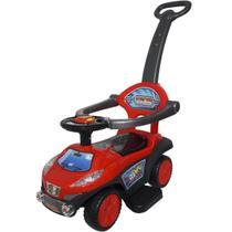 Carrinho Passeio Infantil Criança 3 em 1 Haste Empurrador Quadriciclo Vermelho Brinqway BW-059VM -