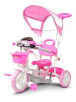 Carrinho Passeio Triciclo Infantil Com Empurrador e Cobertura Rosa - IMPORTWAY