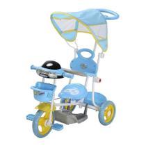 Carrinho Passeio Triciclo Infantil Com Empurrador Motoca Importway Azul -