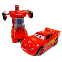 Carrinho Super Robots relámpago mcqueen Carro Vira Robô Emite Luz Som Transformers - Toys