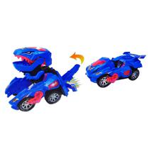 Carrinho Transformers Dinossauro Tiranossauro Bate e Volta com Sons Luz Azul - Barcelona