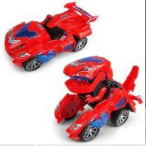 Carrinho Transformers Dinossauro Tiranossauro Bate e Volta com Sons Luz Vermelho - Barcelona