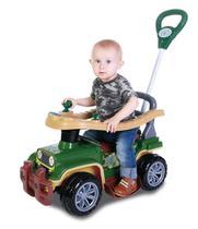 Carrinho Veículo De Passeio Para Bebê Maral Jip Jip Militar Com Empurrador -