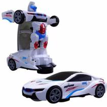 Carro 3d Vira Robo Emite Som E Luz Transformes Carrinho Bmw - Open Trade