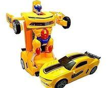 Carro Bate E Volta Transforme Robo Racer Car Com Som E Luz A Pilha - Dm Toys