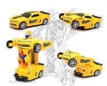Carro Camaro Amarelo Bumblebee Transformers C/ Luz e Som - Yijun -