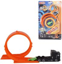Carro com lancador + pista looping possantes track cars kit com 7 pecas na cartela wellkids - Wellmix