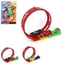Carro com lancador + pista looping possantes track kit com 6 pecas na cartela wellkids - Wellmix