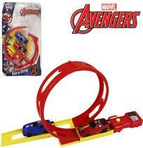 Carro com lancador + pista looping vingadores/avengers na cartela - Etitoys