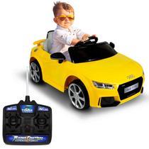 Carro Elétrico Carrinho Infantil Audi TT RS Amarelo Controle Remoto Entrada Aux MP3 12V 2 Portas - Bel Fix
