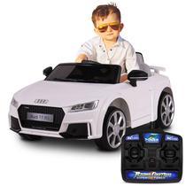 Carro Elétrico Carrinho Infantil Audi TT RS Branco Controle Remoto Entrada Auxiliar MP3 12V 2 Portas - Bel Fix