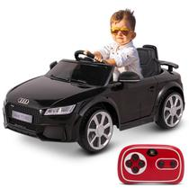Carro Elétrico Carrinho Infantil Audi TT RS Preto Controle Remoto Entrada Auxiliar MP3 2 Portas 12V - Bel Fix