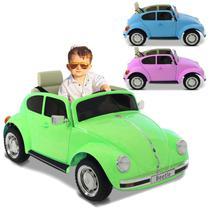 Carro Elétrico Carrinho Infantil Beetle com Controle Remoto Entrada Auxiliar MP3 12V 2 Portas - Bel Fix