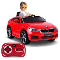 Carro Elétrico Carrinho Infantil BMW 6 GT Vermelho Com Controle Remoto Entrada Mp3 12v 2 Portas - Bel Fix