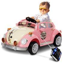 Carro Elétrico Carrinho Infantil Fusca Rosa Controle Remoto Entrada Auxiliar MP3 6V 2 Portas - Bel Fix
