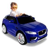 Carro Elétrico Carrinho Infantil Jaguar F-Pace 2 Azul Controle Remoto Entrada MP3 USB 12V 2 Portas - Bel Fix