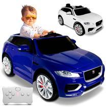 Carro Elétrico Carrinho Infantil Jaguar F-Pace Azul Branco Controle Remoto Entrada Aux MP3 2 Portas - Bel Fix