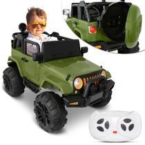Carro Elétrico Carrinho Infantil Jeep Verde Controle Remoto Entrada Auxiliar MP3 12V 2 Portas - Iw