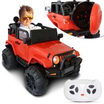 Carro Elétrico Carrinho Infantil Jeep Vermelho Controle Remoto Entrada Auxiliar MP3 12V 2 Portas - Iw