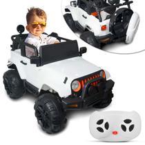 Carro Elétrico Carrinho Infantil Jipe Branco Controle Remoto Entrada Auxiliar MP3 2 Portas 12V - Iw