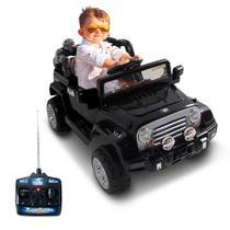 Carro Elétrico Carrinho Infantil Jipe Trilha Preto Com Controle Remoto Auxiliar P2 MP3 12V 2 Portas - Bel Fix