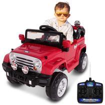 Carro Elétrico Carrinho Infantil Jipe Trilha Vermelho com Controle Remoto Auxiliar MP3 12V 2 Portas - Bel Fix