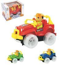 Carro Jeep Bate E Volta Com Boneco Brinca Bebe Colors Com Som E Luz A Pilha Na Caixa Wellkids - Wellmix
