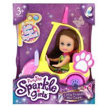 Carro Mini Sparkles Amarelo E Boneca Morena 4806 - DTC -