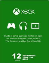 Cartão Código Microsoft Xbox Live 12 Meses Gold -
