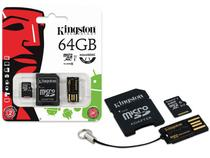 Cartao de Memoria Classe 10 Kingston MBLY10G2/64GB Multikit 64GB Micro Sdhc+adaptador Sd+adaptadorusb