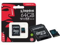 Cartao de Memoria Classe 10 Kingston SDCG2/64GB Micro SDXC 64GB 90R/45W UHS-I U3 V30 Canvas GO
