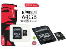 Cartao de Memoria Classe 10 Kingston SDCS/64GB Micro SDXC 64GB 80R/10W UHS-I U1 Canvas Select